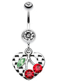 Charming Cherry Heart Belly Button Ring - 14 GA (1.6mm) - Clear - Sold Individually