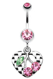 Charming Cherry Heart Belly Button Ring - 14 GA (1.6mm) - Light Pink - Sold Individually