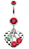 Charming Cherry Heart Belly Button Ring - 14 GA (1.6mm) - Red - Sold Individually