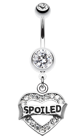 Spoiled' Heart Sparkle Belly Button Ring - 14 GA (1.6mm) - Clear - Sold Individually