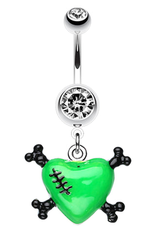 Vibrant Heart Crossbones Belly Button Ring - 14 GA (1.6mm) - Green - Sold Individually