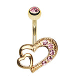 Golden Colored Heart on Heart Belly Button Ring - 14 GA (1.6mm) - Light Pink - Sold Individually