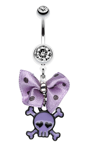 Dainty Skull Crossbones Polka Dot Bow Belly Button Ring - 14 GA (1.6mm) - Purple - Sold Individually