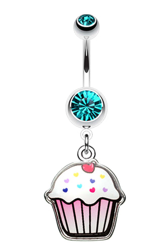 Cute Cupcake Belly Button Ring - 14 GA (1.6mm) - Teal - Sold Individually