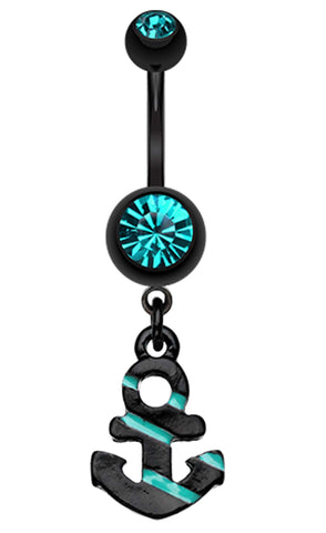 Blackline Nautical Stripe Anchor Dangle Belly Button Ring - 14 GA (1.6mm) - Teal - Sold Individually