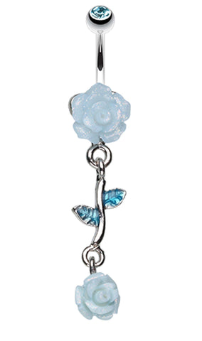 Shimmering Rose Vine Belly Button Ring - 14 GA (1.6mm) - Aqua - Sold Individually