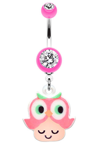 Curious Owl Belly Button Ring - 14 GA (1.6mm) - Pink - Sold Individually