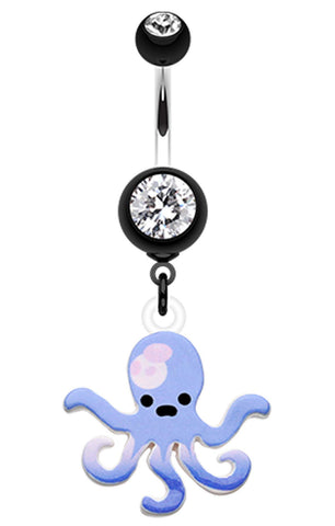 Super Sweet Octopus Belly Button Ring - 14 GA (1.6mm) - Black - Sold Individually