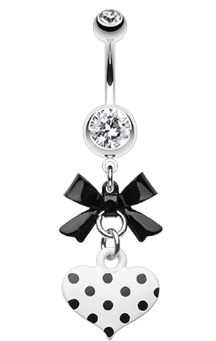 Polka Dot Heart and Bow Belly Button Ring - 14 GA (1.6mm) - Black - Sold Individually