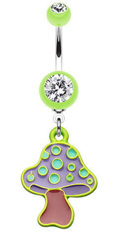 Mushroom Belly Button Ring - 14 GA (1.6mm) - Light Green - Sold Individually