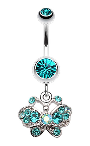 Charming Butterfly Belly Button Ring - 14 GA (1.6mm) - Teal - Sold Individually