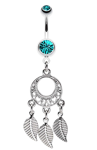 Petit Heart Hoop Dream Catcher Belly Button Ring - 14 GA (1.6mm) - Teal - Sold Individually