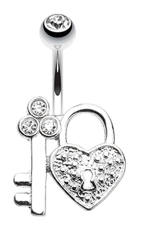 Key to My Heart's Lock Belly Button Ring - 14 GA (1.6mm) - Clear - Sold Individually