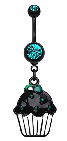 Blackline Sweet Cupcake Belly Button Ring - 14 GA (1.6mm) - Teal - Sold Individually