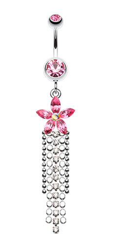 Flower Delight Showers Belly Button Ring - 14 GA (1.6mm) - Light Pink - Sold Individually