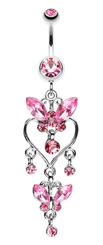 Butterfly Extravagance Belly Button Ring - 14 GA (1.6mm) - Light Pink - Sold Individually
