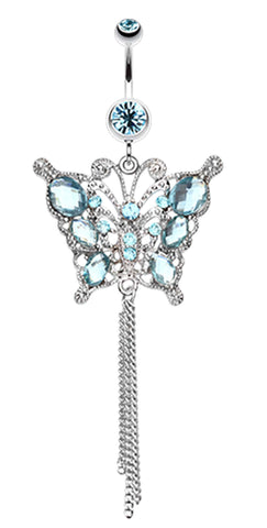 Glass-Gemmed Butterfly Belly Button Ring - 14 GA (1.6mm) - Aqua - Sold Individually