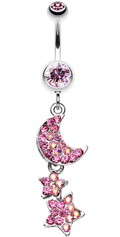 Star and Moon Lit Sky Belly Button Ring - 14 GA (1.6mm) - Light Pink - Sold Individually