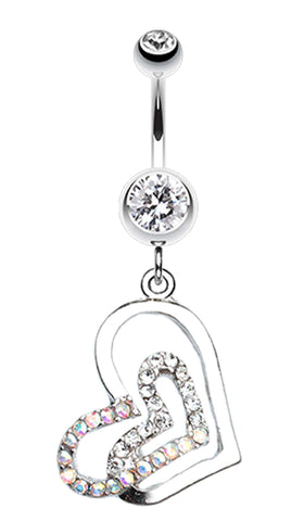 Twinkling Double Heart Belly Button Ring - 14 GA (1.6mm) - Clear - Sold Individually