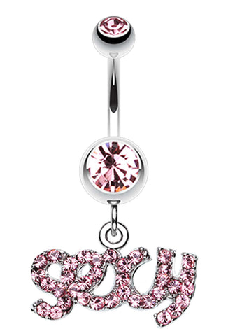 Sexy' Sparkle Belly Button Ring - 14 GA (1.6mm) - Light Pink - Sold Individually
