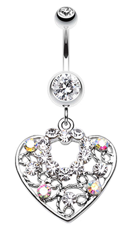 Sparkling Precious Heart Belly Button Ring - 14 GA (1.6mm) - Clear - Sold Individually