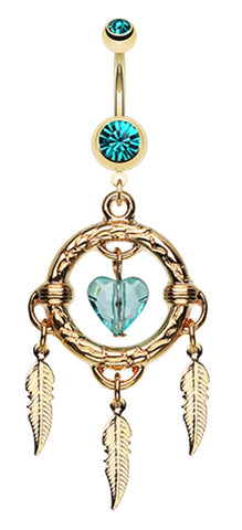 Golden Colored Heart Hoop Dream Catcher Belly Button Ring - 14 GA (1.6mm) - Teal - Sold Individually