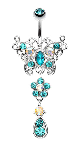 Glistening Butterfly Flower Belly Button Ring - 14 GA (1.6mm) - Teal - Sold Individually