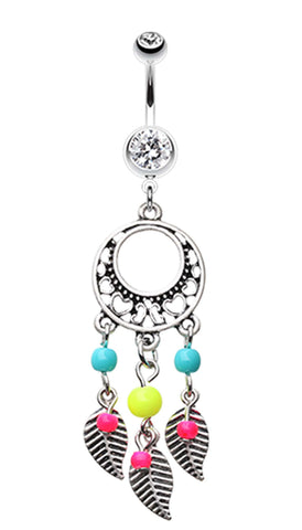 Vintage Enchanted Dream Catchers Belly Button Ring - 14 GA (1.6mm) - Retro Yellow - Sold Individually