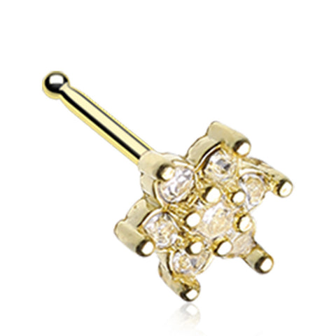 Golden Color Spring Flower Sparkle Prong Set Nose Stud Ring - 20 G - Sold as a Pair