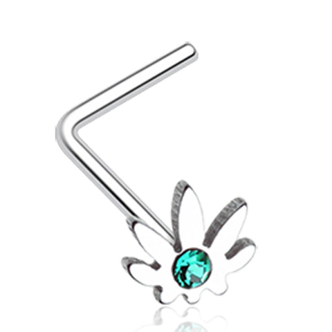 Classic Cannabis Sparkle L-Shaped Nose Ring - 20 G - Sold as a Pair