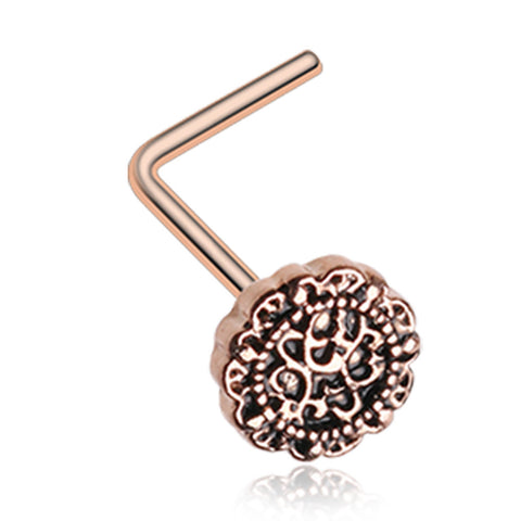 Rose Gold Color Mandela Filigree Icon L-Shaped Nose Ring - 20 G - Sold as a Pair
