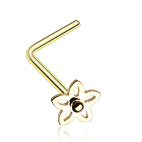 Golden Color Sweet Violet Flower L-Shaped Nose Ring - 20 G - Sold as a Pair