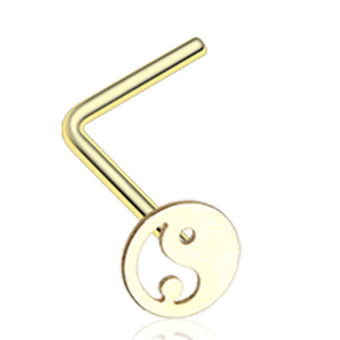 Golden Color Yin Yang Tao L-Shaped Nose Ring - 20 G - Sold as a Pair