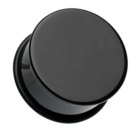 Acrylic Single Flared Ear Gauge Plug - 0 GA (8mm) - Black - Sold as a Pair