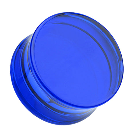 Acrylic Double Flared Ear Gauge Plug - 6 GA (4mm) - Blue - Sold as a Pair