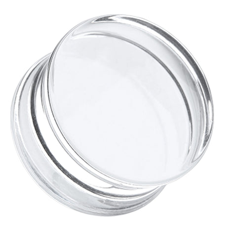 Acrylic Double Flared Ear Gauge Plug - 8 GA (3.2mm) - Clear - Sold as a Pair