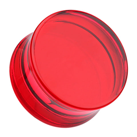 "Acrylic Double Flared Ear Gauge Plug - 15/32"" (12mm) - Red - Sold as a Pair"
