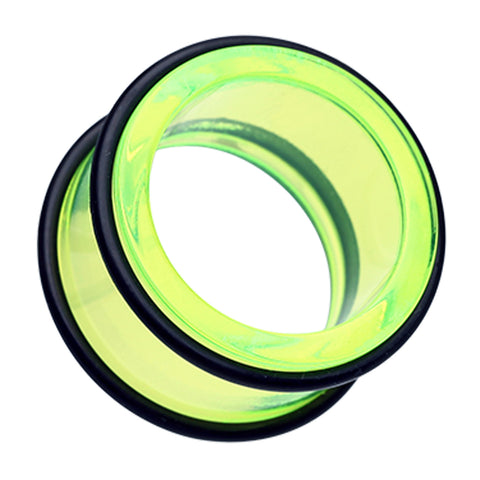 "Acrylic No Flare Ear Gauge Tunnel Plug - 1/2"" (12.5mm) - Green - Sold as a Pair"