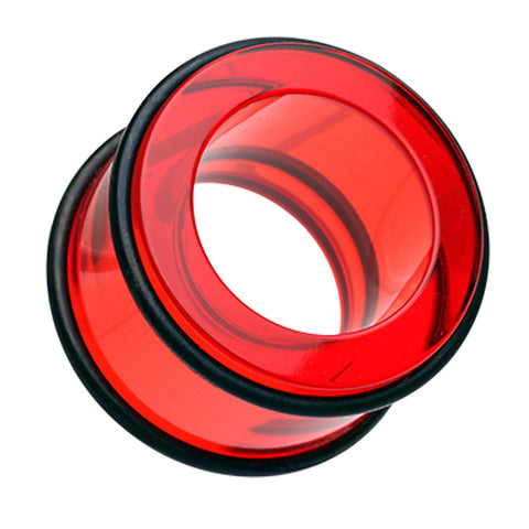 "Acrylic No Flare Ear Gauge Tunnel Plug - 9/16"" (14mm) - Red - Sold as a Pair"