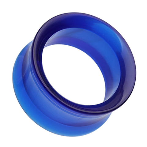 "Acrylic Double Flared Ear Gauge Tunnel Plug - 9/16"" (14mm) - Blue - Sold as a Pair"