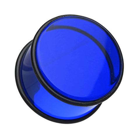 "Acrylic No Flare Ear Gauge Plug - 23/32"" (18mm) - Blue - Sold as a Pair"