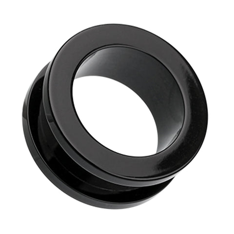 Acrylic Screw-Fit Ear Gauge Tunnel Plug - 6 GA (4mm) - Black - Sold as a Pair