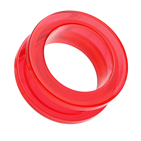 Acrylic Screw-Fit Ear Gauge Tunnel Plug - 10 GA (2.4mm) - Red - Sold as a Pair