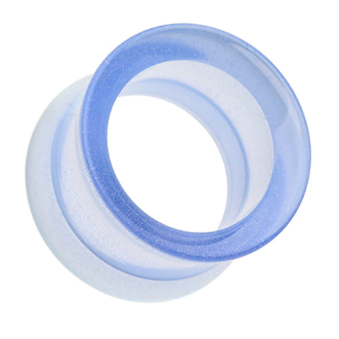 Glow in the Dark Acrylic Double Flared Ear Gauge Tunnel Plug - 6 GA (4mm) - Blue - Sold as a Pair