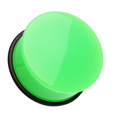 "Neon Colored Acrylic Single Flared Ear Gauge Plug - 3/4"" (19mm) - Green - Sold as a Pair"