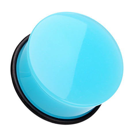 Neon Colored Acrylic Single Flared Ear Gauge Plug - 8 GA (3.2mm) - Light Blue - Sold as a Pair