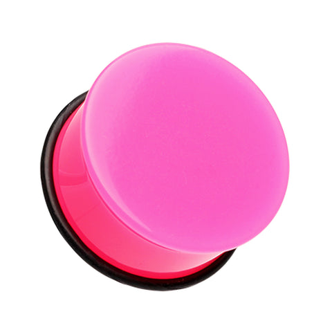 "Neon Colored Acrylic Single Flared Ear Gauge Plug - 1"" (25mm) - Pink - Sold as a Pair"