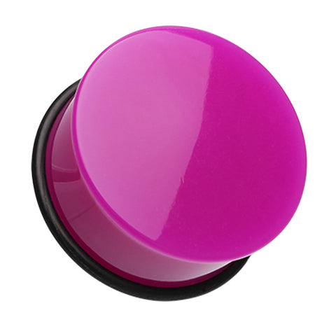 "Neon Colored Acrylic Single Flared Ear Gauge Plug - 3/4"" (19mm) - Purple - Sold as a Pair"
