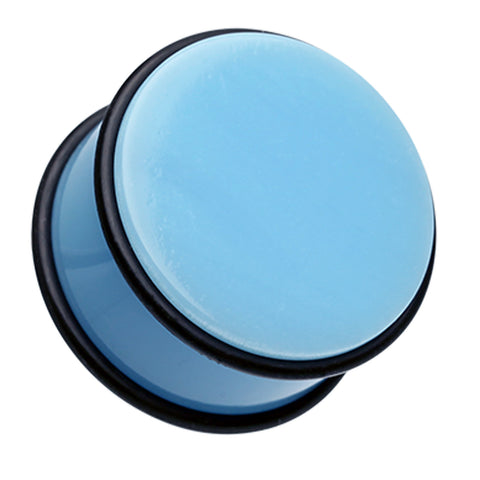 "Neon Colored Acrylic No Flare Ear Gauge Plug - 1"" (25mm) - Light Blue - Sold as a Pair"
