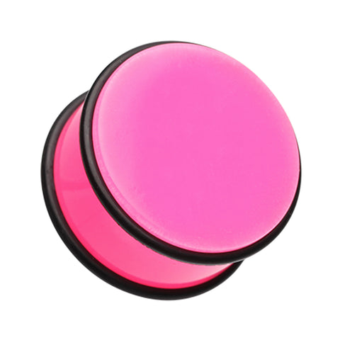 "Neon Colored Acrylic No Flare Ear Gauge Plug - 7/16"" (11mm) - Pink - Sold as a Pair"